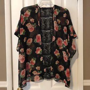 Tops - Forever 21 floral sheer lace back shrug